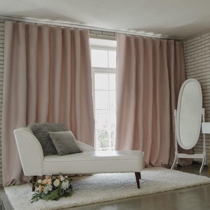Штора портьерная «Этель» 250×265 см, блэкаут, цвет розовый металл, пл. 210 г/м², 100% п/э