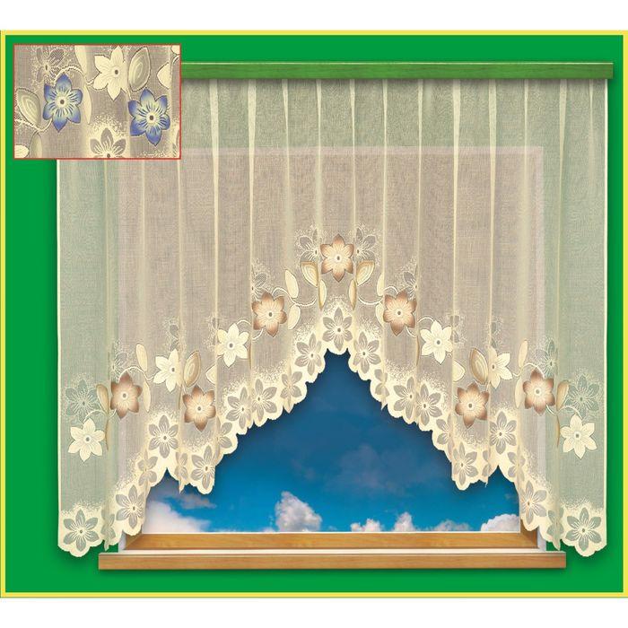 Гардина, размер 300х180 см, цвет крем, голубой