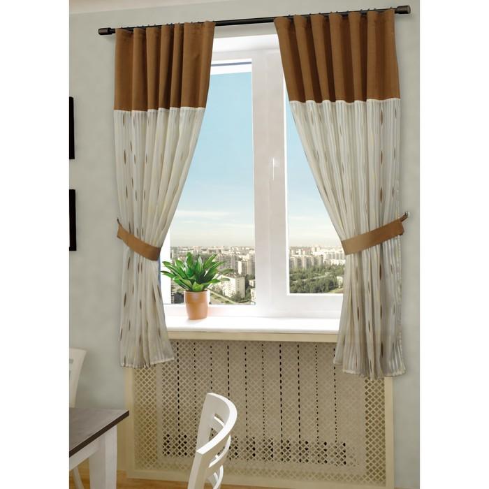 Комплект штор «Делис», ш. 145 х в. 180 см - 2 шт, цвет бежево-коричневый