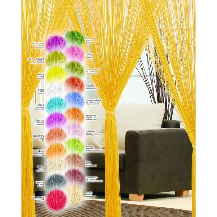 Гардина-лапша, размер 200х250 см, цвет жёлтый