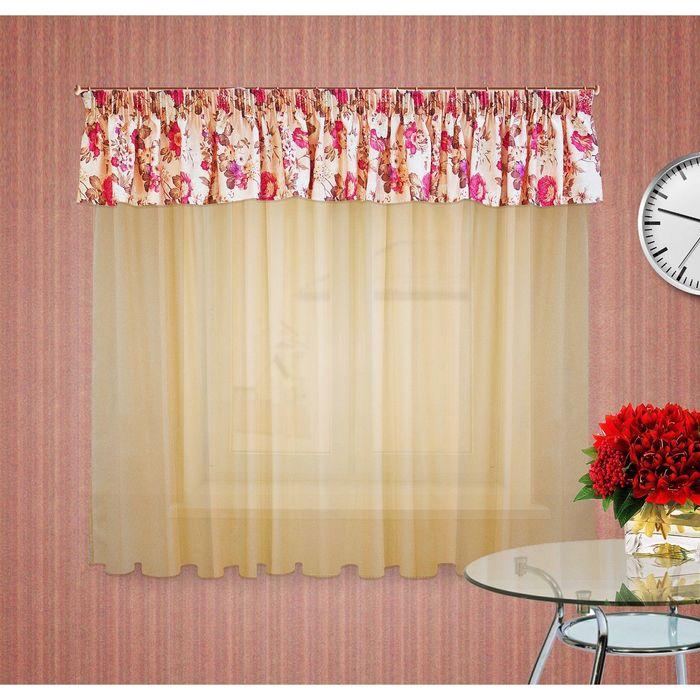 Комплект штор, размер 300х180 см, ламбрекен 50х400 см, цвет бежевый