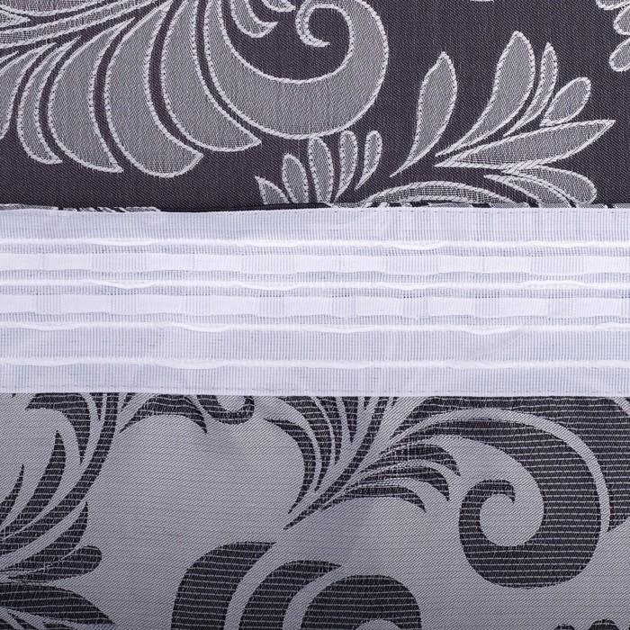 Шторы портьерные жаккард Орнамент молочный блэк190*260 2шт, 190 г/м2, 100% полиэстер