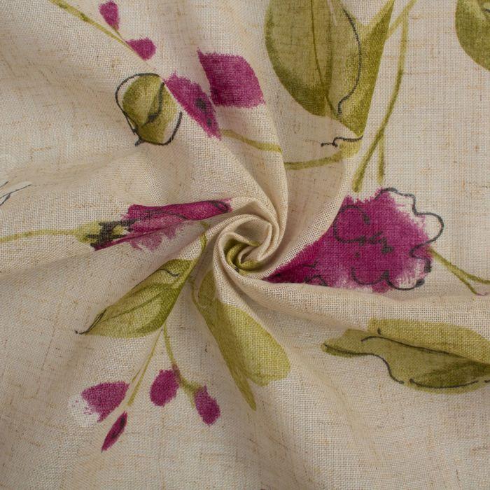 Штора портьерная «Этель» 135×260 см, Акварельные цветы, полулён, 15% лён, 85% п/э