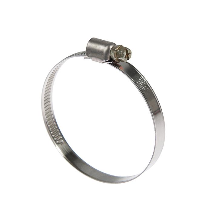 Хомут червячный TUNDRA krep W2, диаметр 50-70 мм, ширина 9 мм, нержавеющая сталь
