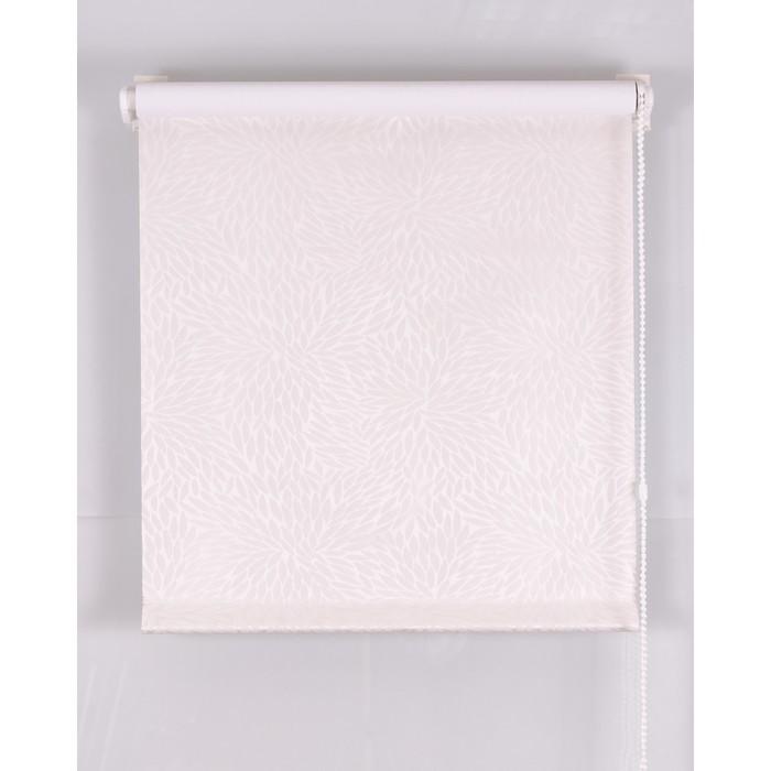 Рулонная штора Blackout 100х160 см, имитация жаккарда «подсолнух», цвет белый