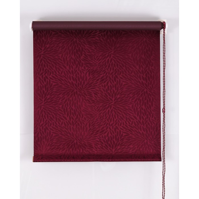 Рулонная штора Blackout 120х160 см, имитация жаккарда «подсолнух», цвет красное вино