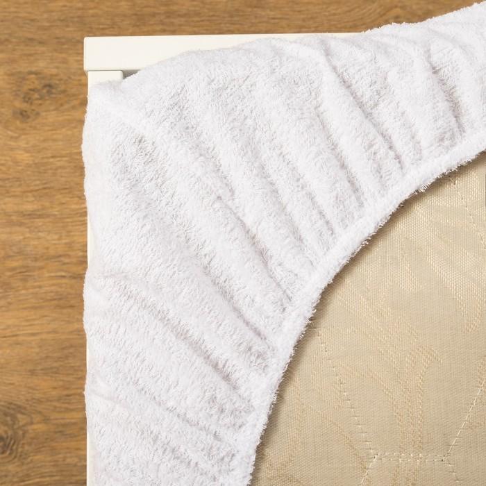 Наматрасник водонепроницаемый на резинке 200х200 + 20 см, махра 100% хлопок, низ полиуретан