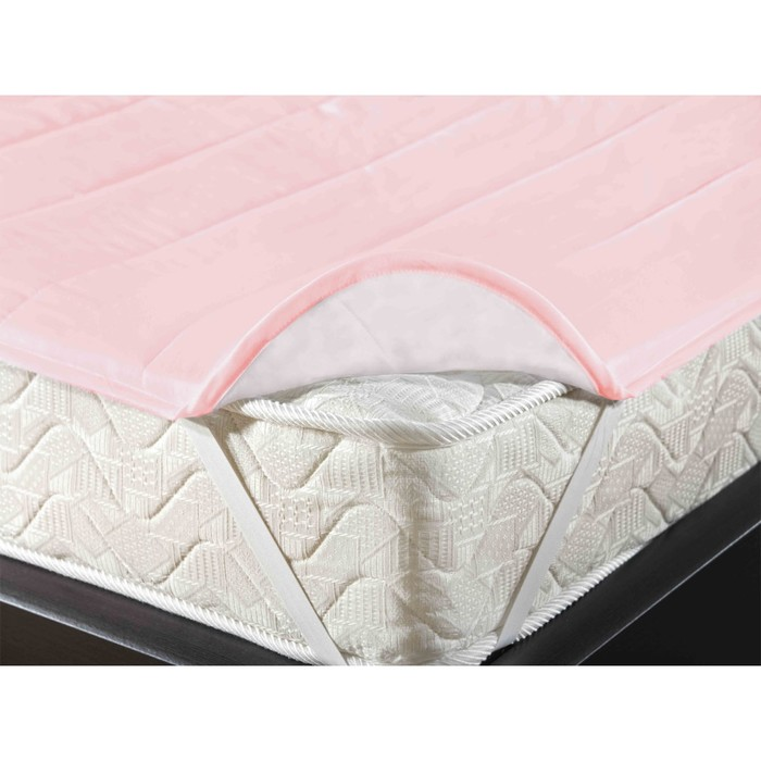 Наматрасник-топпер на резинке, размер 140х200 см, цвет розовый