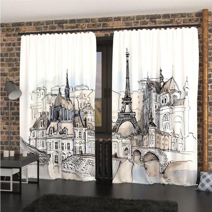 Фотошторы «Парижский пейзаж», размер 145 × 260 см, габардин