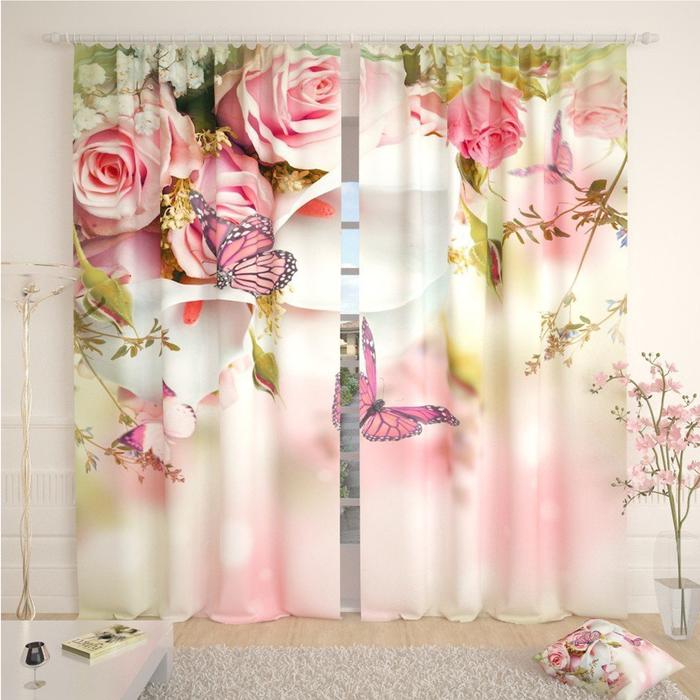 Фотошторы «Розы и бабочки», размер 145 × 260 см, габардин