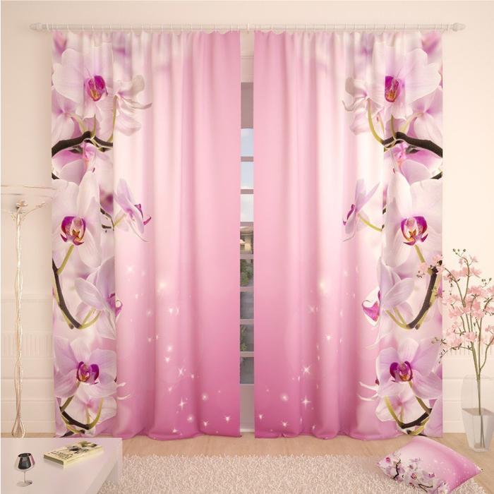 Фотошторы «Розоватая орхидея», размер 145 × 260 см, габардин