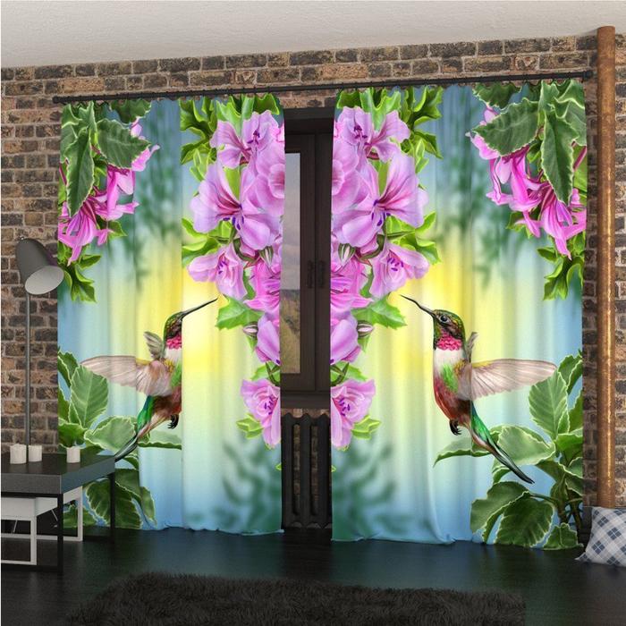 Фотошторы «Сказочный колибри», размер 145 × 260 см, габардин