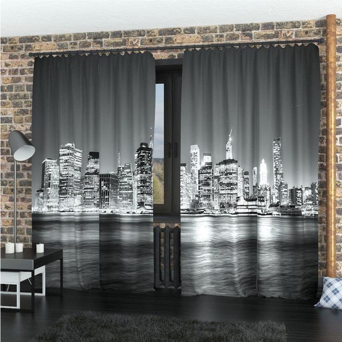 Фотошторы «Черно-белый Манхеттен», размер 145 × 260 см, габардин