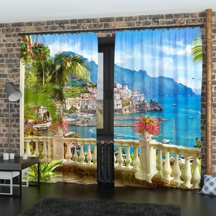 Фотошторы «Вид на залив», размер 145 × 260 см, габардин