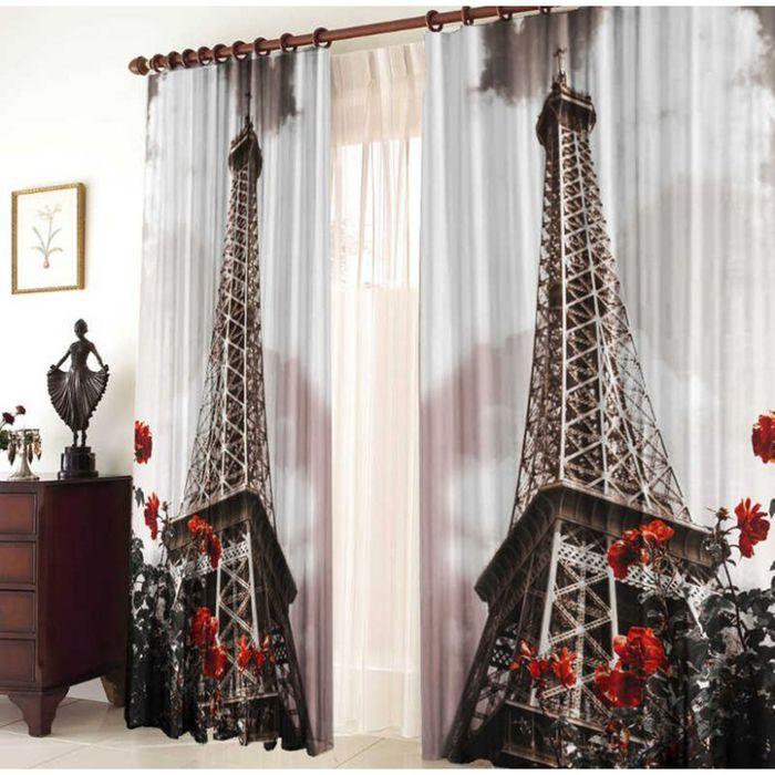"""Комплект штор """"Эйфелева башня"""", ширина 145 см, высота 270 см +/-5 см-2 шт., габардин 150 г/м2"""
