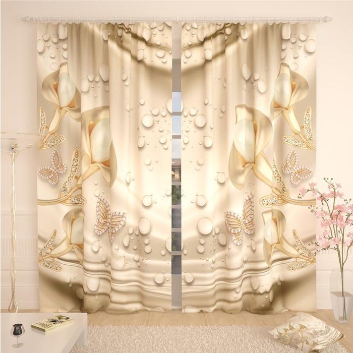 Фотошторы «Ювелирные бабочки», размер 145 × 260 см,  блэкаут