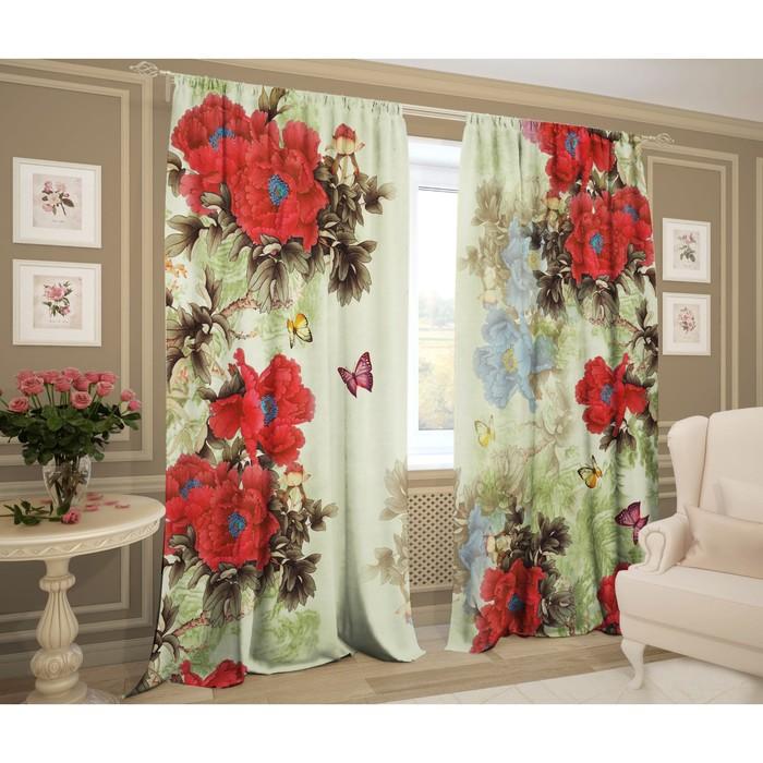 Комплект штор  Сапфировые цветы  147х267 +/- 3см 2шт, габардин, п/э