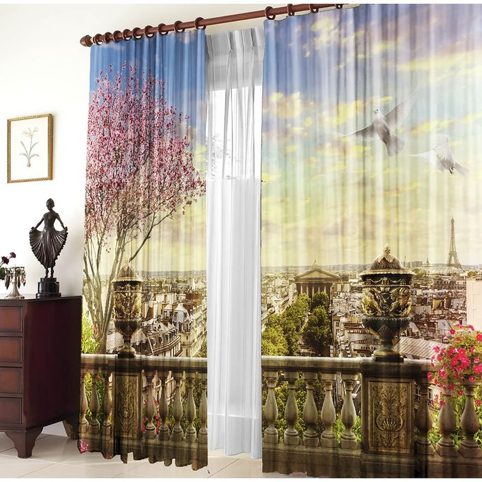 Комплект штор Панорама Парижа 150х270 +/- 3см 2шт, габардин, п/э