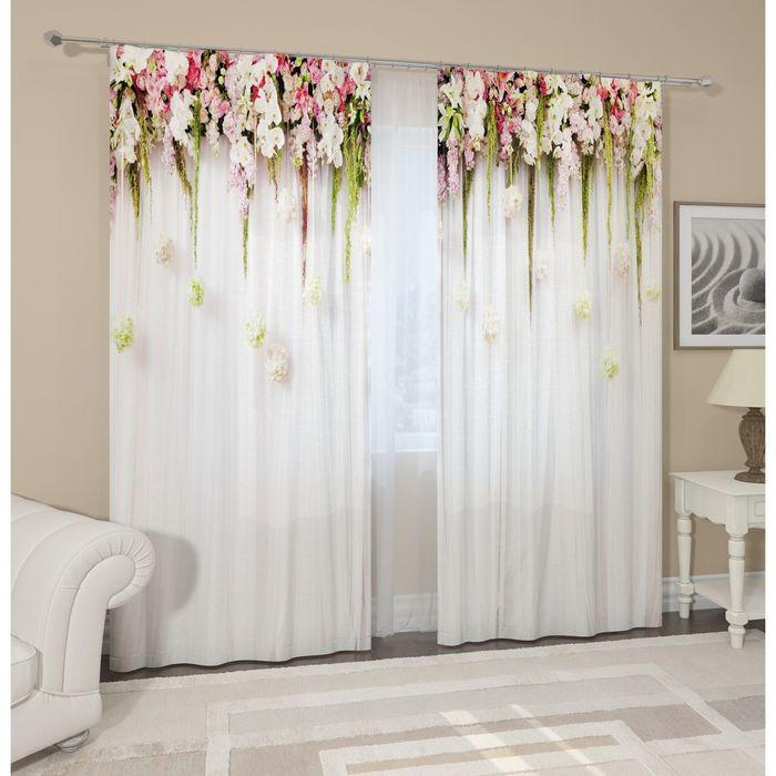 """Комплект штор """"Цветы на белом фоне"""", 145 х 260 см, 2 шт, габардин, п/э"""