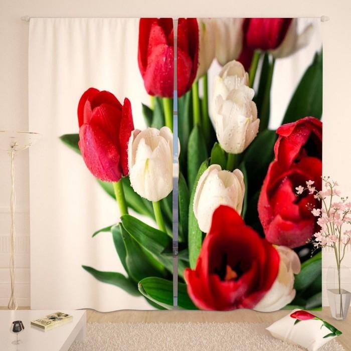 """Фотошторы """"Красно-белый букет тюльпанов"""", размер 150х260 см-2 шт., габардин"""