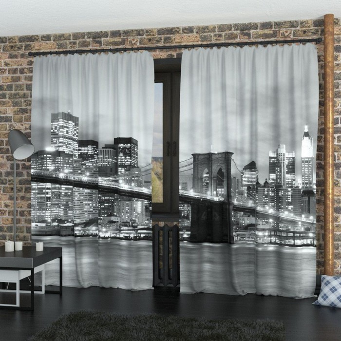 "Фотошторы ""Бруклинский мост, чёрно-белый"", размер 150х260 см-2 шт., габардин"