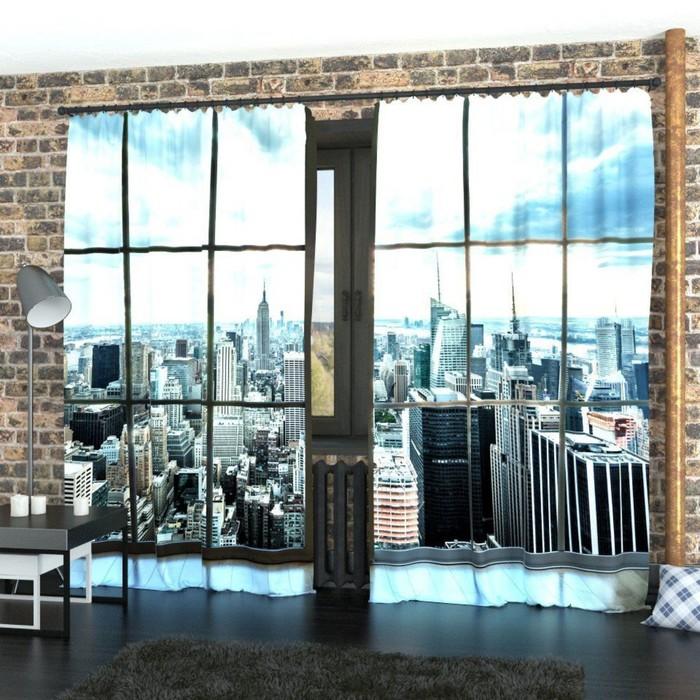 "Фотошторы ""Окно на Манхеттен"", размер 150х260 см-2 шт., габардин"