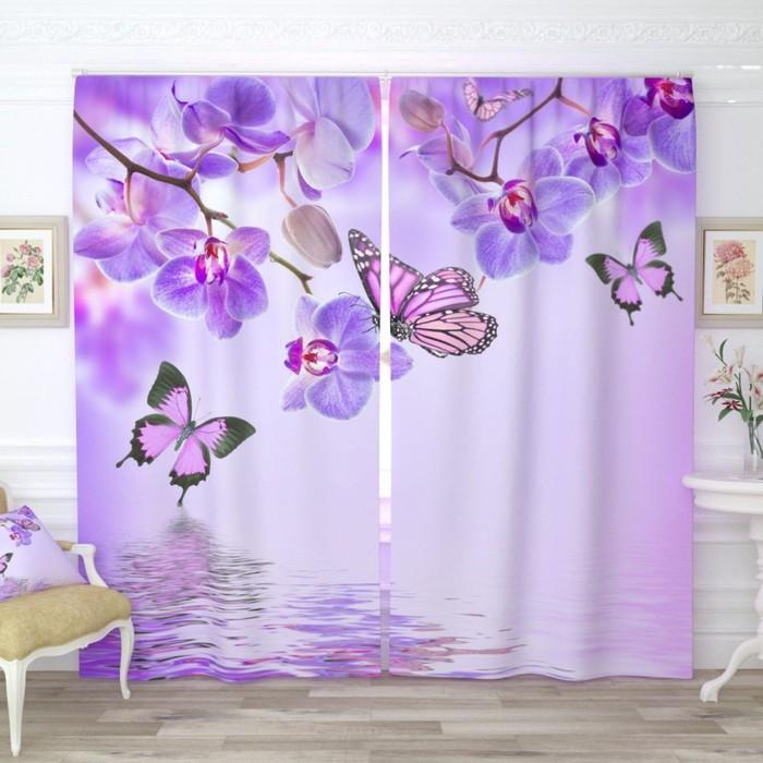 """Фотошторы """"Бабочки у воды с орхидеями"""", размер 150х260 см-2 шт., габардин"""