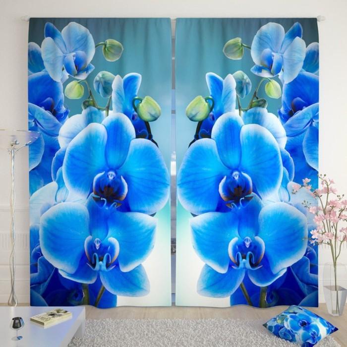 """Фотошторы """"Голубая орхидея"""", размер 150х260 см-2 шт., габардин"""
