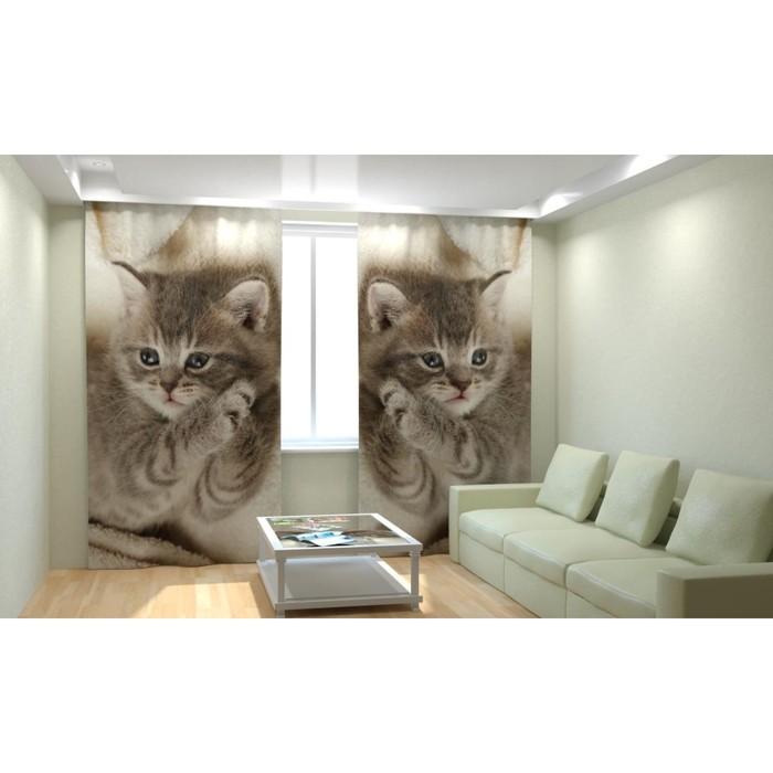 """Фотошторы """"Дымчатый котёнок"""", размер 150х260 см, габардин"""