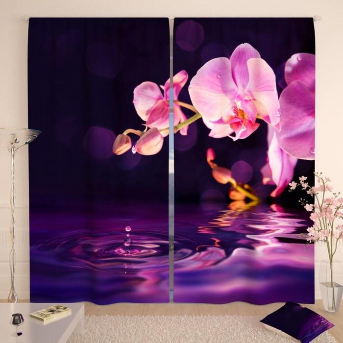 """Фотошторы """"Орхидея в сумерках"""", размер 150х260 см-2 шт., габардин"""