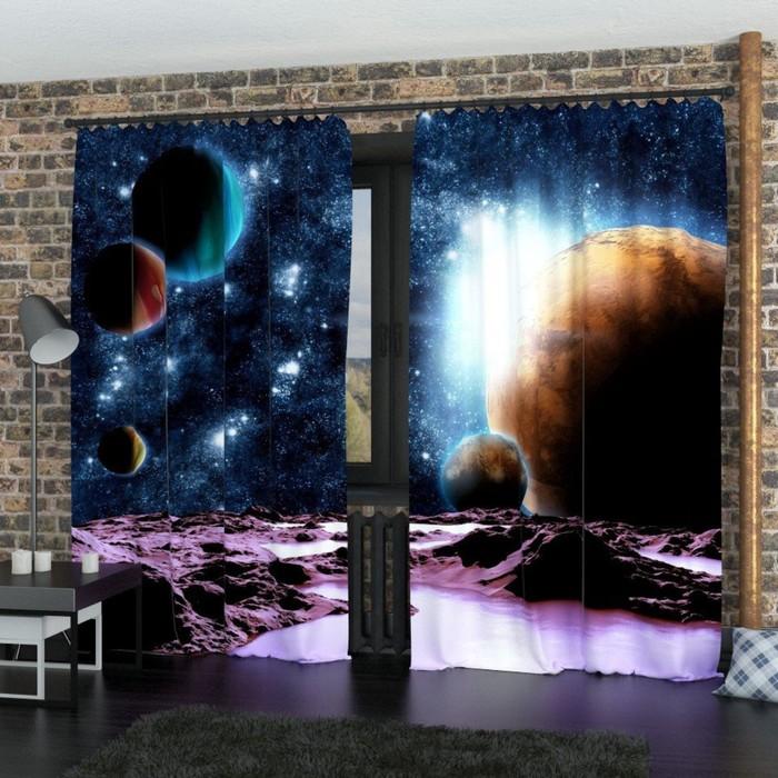 "Фотошторы ""Путешествие к далёким планетам"", размер 150х260 см-2 шт., габардин"