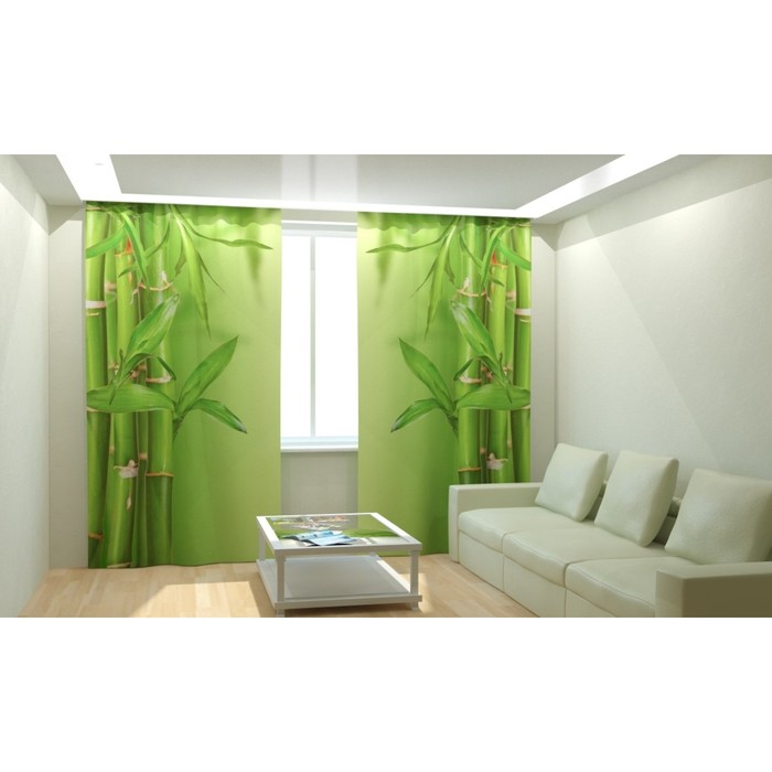 "Фотошторы ""Нежный бамбук"", размер 150х260 см, габардин"
