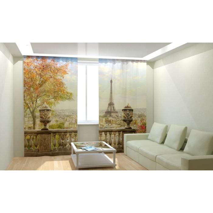 "Фотошторы ""Парижский балкон"", размер 150х260 см, габардин"