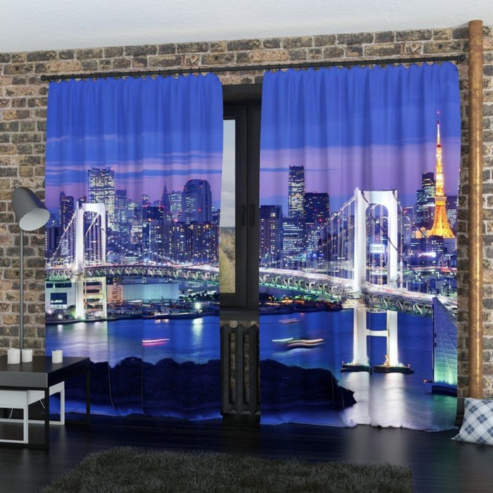 "Фотошторы ""Бруклинский мост 2"", размер 150х260 см-2 шт., габардин"