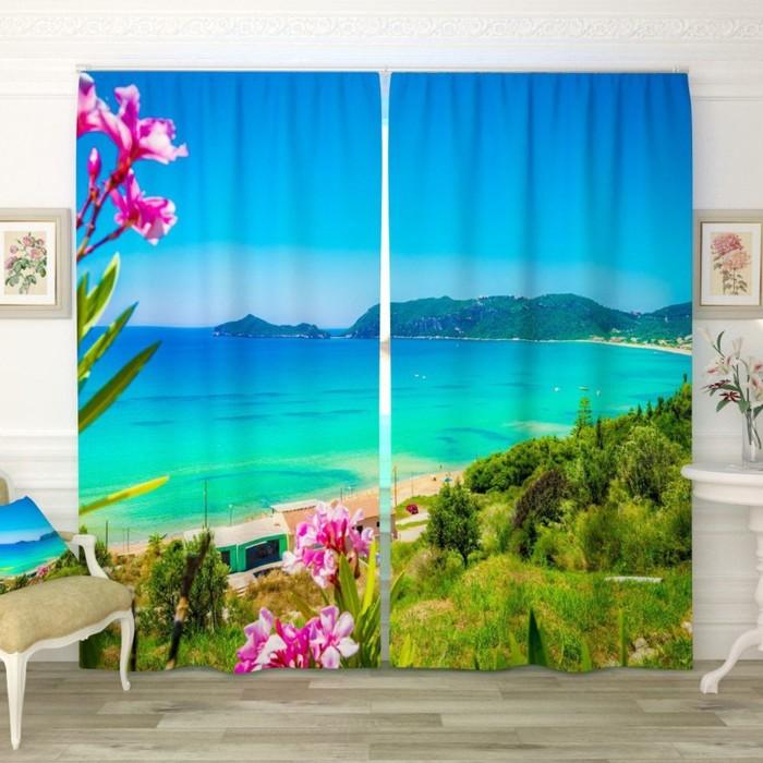 """Фотошторы """"Голубой пляж"""", размер 150х260 см-2 шт., габардин"""