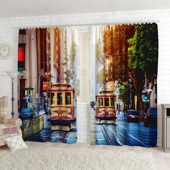 "Фотошторы ""Сан-Франциско"", размер 150х260 см-2 шт., габардин"