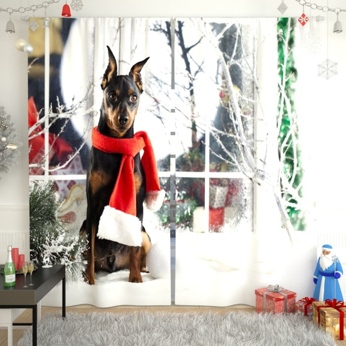 """Фотошторы """"Новогодняя коллекция 171"""", размер 150х260 см, габардин"""