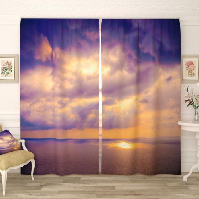 """Фотошторы """"Восход в океане"""", размер 150х260 см-2 шт., габардин"""
