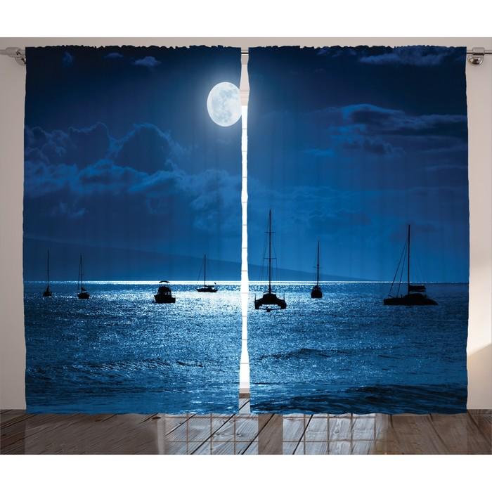 """Комплект фотоштор JoyArty """"Лодки в ночи"""", 145 х 265 см - 2 шт, 100% полиэстер"""