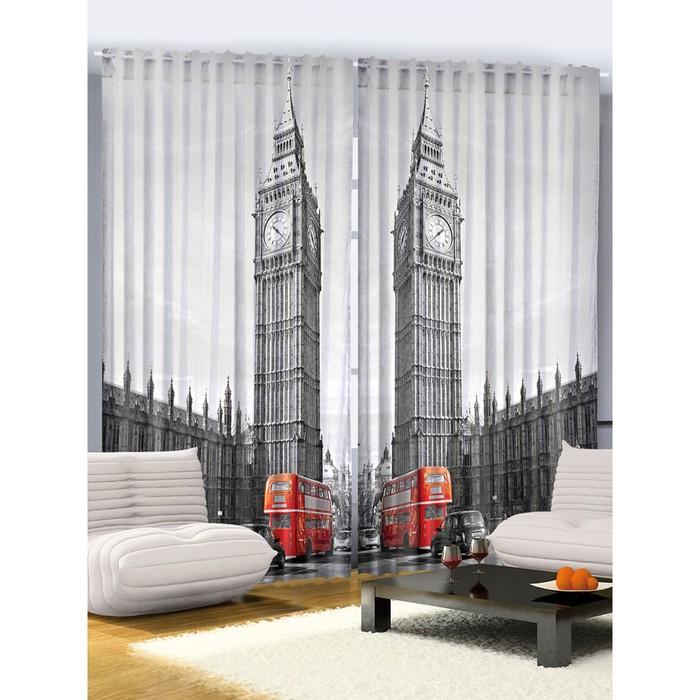 """Комплект фотоштор JoyArty """"Типичный Лондон"""", 145 х 265 см - 2 шт, 100% полиэстер"""