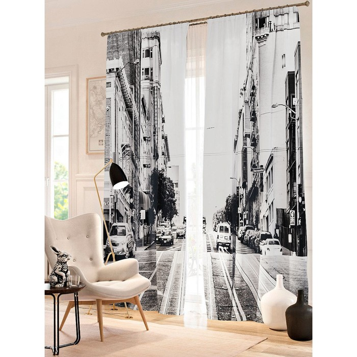 "Фотошторы ""Чёрно-белый Сан-Франциско"", размер 150х260 см - 2 шт, блэкаут"