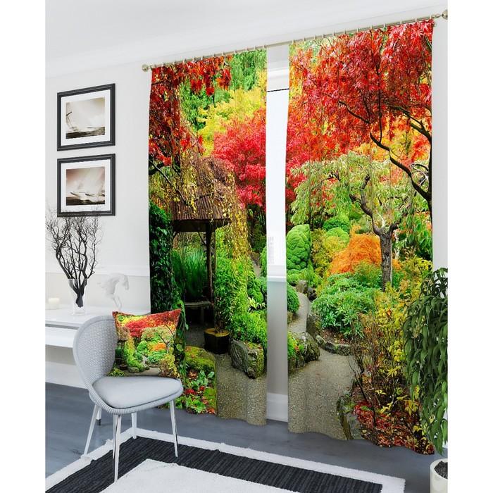 """Фотошторы """"Японский сад"""", размер 150х260 см - 2 шт, блэкаут"""