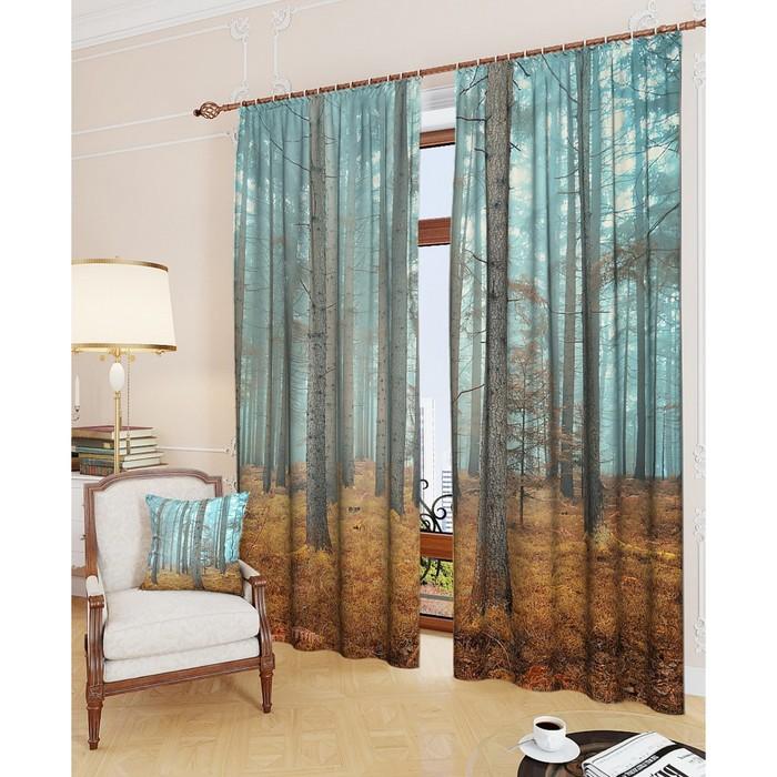 """Фотошторы """"Таинственный лес"""", размер 150х260 см - 2 шт, блэкаут"""