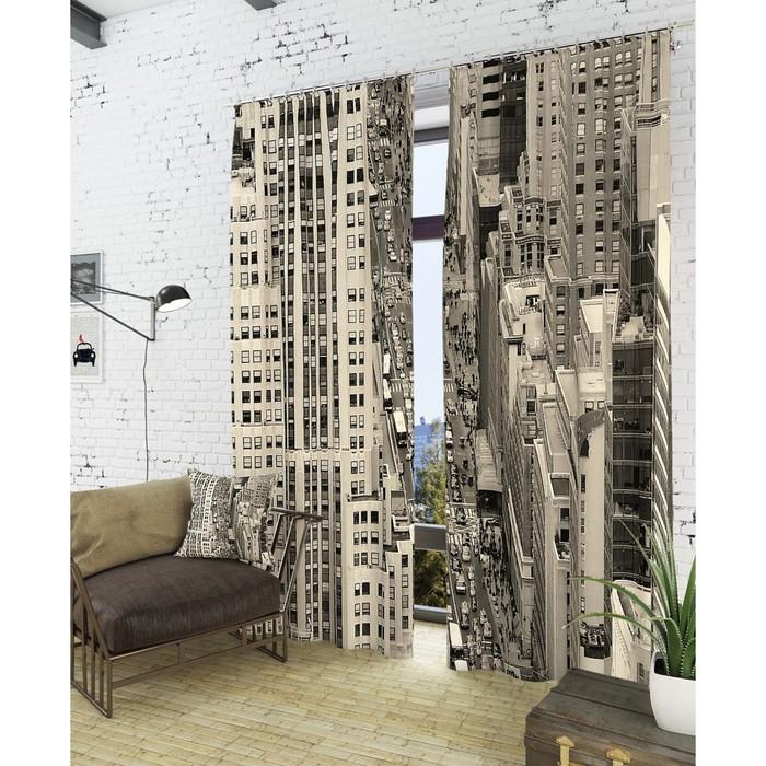 "Фотошторы ""Отражение мегаполиса"", размер 150х260 см - 2 шт, блэкаут"