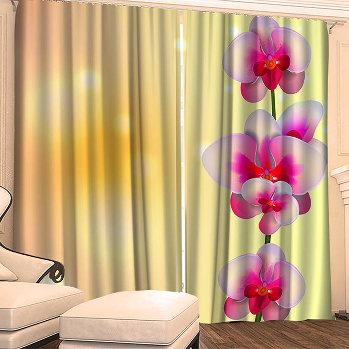 "Фотошторы ""Блеск орхидеи 02"" 145х260 см 2шт, габардин 160гр/м2, пэ100%"