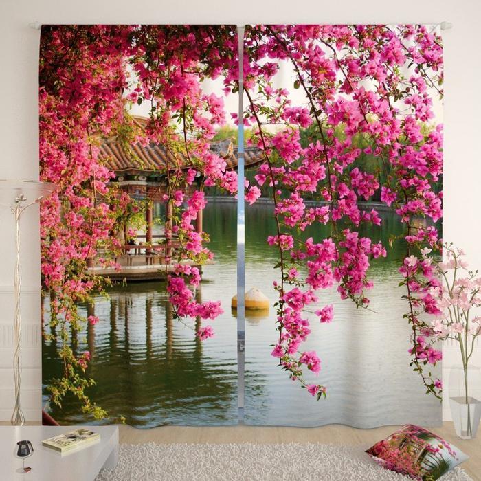 Фотошторы «Цветы в китайском парке», размер 145 × 260 см, габардин