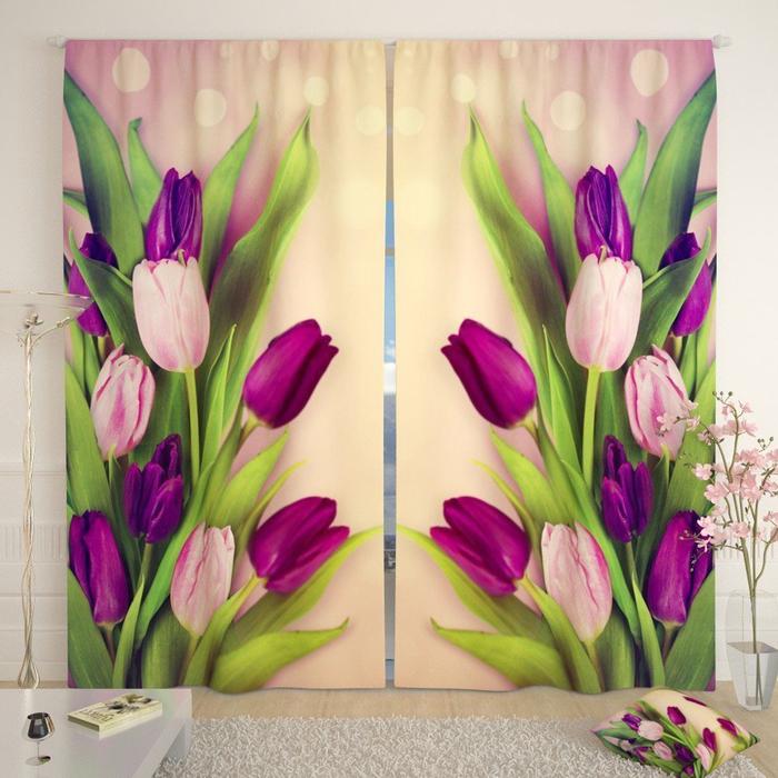 Фотошторы «Праздничные тюльпаны», размер 145 × 260 см, габардин