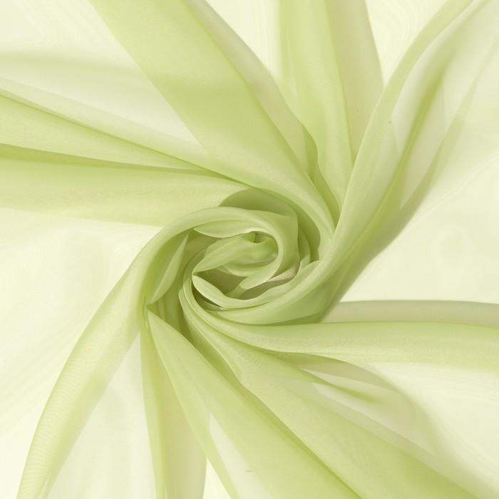 Ткань тюлевая гладкокрашенная 10 м, ширина 300 см, 50 г/м², цвет светло-зеленый, вуаль, 100% п/э