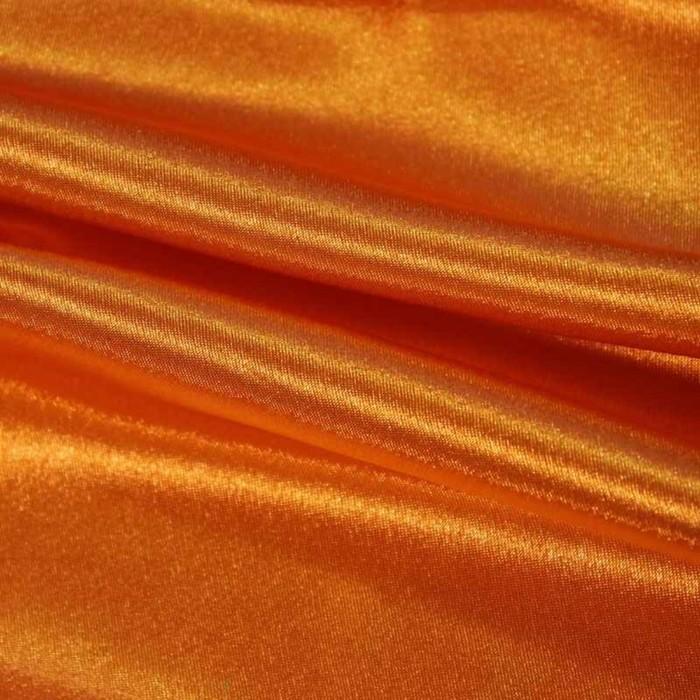 Ткань плательная-Креп сатин, ширина 150 см, цвет оранжевый, 210 г/п.м.