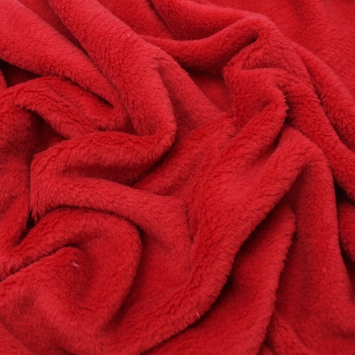 Трикотаж костюмный, велсофт гладкокрашеный, ширина 150 см, цвет красный